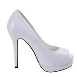 hvit lakkert 13,5 cm BELLA-12 dame pumps sko stiletthæl