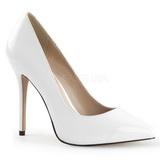 hvit lakkert 13 cm AMUSE-20 dame pumps sko stiletthæl