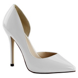 hvit lakkert 13 cm AMUSE-22 klassiske pumps sko til dame