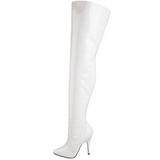 hvit lakkert 13 cm SEDUCE-3010 lårhøye støvler til menn