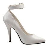 hvit lakkert 13 cm SEDUCE-431 dame pumps med lave hæl