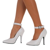 hvit lakkert 13 cm SEDUCE-431 dame pumps sko flate hæl