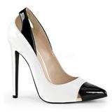 hvit lakkert 13 cm SEXY-22 klassiske pumps sko til dame