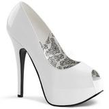 hvit lakkert 14,5 cm TEEZE-22 dame pumps sko stiletthæl