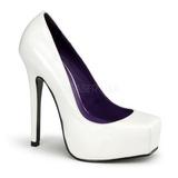 hvit lakkert 14 cm BONDAGE-01 dame pumps sko flate hæl