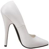 hvit lakkert 15 cm DOMINA-420 spisse pumps med stiletthæler