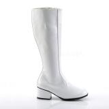 hvit lakkert 5 cm GOGO høye damestøvler til menn