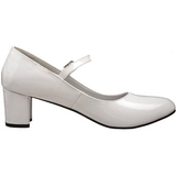 hvit lakkert 5 cm SCHOOLGIRL-50 klassiske pumps sko til dame