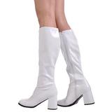 hvit lakkert 8,5 cm GOGO-300 høye damestøvler til menn