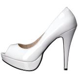 hvit lakklær 13,5 cm CHLOE-01 store størrelser pumps sko