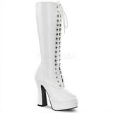 hvit matt 13 cm Pleaser ELECTRA-2020 platå høye støvler