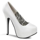 hvit matt 14,5 cm Burlesque BORDELLO TEEZE-06 platå pumps høy hæl