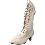 hvit matt 5 cm FUNTASMA DAME-115 retro ankel høye støvler