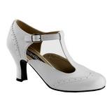 hvit matt 7,5 cm FLAPPER-26 dame pumps sko flate hæl