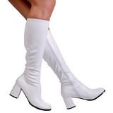 hvit matt 7,5 cm GOGO-300 høye damestøvler til menn
