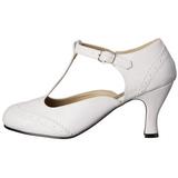hvit matt 7,5 cm retro vintage FLAPPER-26 dame pumps med lave hæl