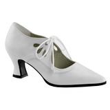 hvit matt 7 cm retro vintage VICTORIAN-03 dame pumps med lave hæl