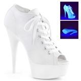 hvit neon 15 cm DELIGHT-600SK-01 canvas joggesko med høye hæler