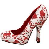 hvit rød 13 cm BLOODY-12 gothic pumps sko dame