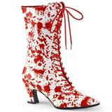 hvit rød 7 cm VICTORIAN-120BL dame ankelstøvletter med snøring