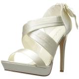 hvit satin 12 cm LUMINA-29 høye fest sandaler med hæl