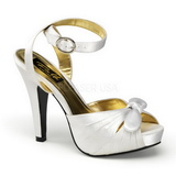 hvit satin 12 cm PINUP COUTURE BETTIE-04 platå høye hæler sko