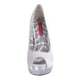 hvit satin 13,5 cm BELLA-12R strass platform pumps sko