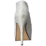 hvit satin 13 cm LOLITA-32 høye pumps fest sko med hæl