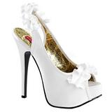 hvit satin 14,5 cm Burlesque TEEZE-56 platå høyhælte sandaler sko