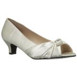 hvit satin 5 cm FAB-422 store størrelser pumps sko