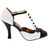 hvit semsket 10 cm SMITTEN-10 Rockabilly dame pumps med lave hæl