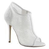 hvit stoff 13 cm AMUSE-56 høye pumps fest sko med hæl