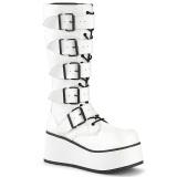 hvit vegan 8,5 cm TRASHVILLE-518 demonia støvler - unisex platåstøvler
