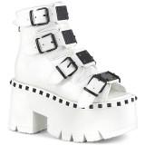 hvit vegan 9 cm ASHES-70 lolita platå ankelstøvletter med blokkhæl for kvinner
