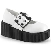 hvite 7,5 cm CREEPER-230 maryjane creepers sko - platåsko med spenne