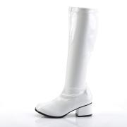 hvite lakkstøvler blokkhæl 5 cm - 70 tallet støvler hippie disco gogo - knehøye boots