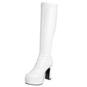 hvite platåstøvler 13 cm - 70 tallet støvler hippie disco lakkboots - knehøye platåboots