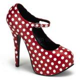 hvite punkter 14,5 cm TEEZE-08 røde pumps sko med hæl