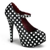hvite punkter 14,5 cm TEEZE-08 svarte pumps sko med hæl