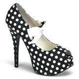 hvite punkter 14,5 cm TEEZE-25 svarte pumps sko med hæl