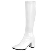 hvite vinyl støvler blokkhæl 7,5 cm - 70 tallet hippie disco gogo - knehøye boots