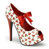 kirsebær hvit 14,5 cm TEEZE-25-3 høye damesko med høy hæl