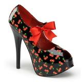 kirsebær svart 14,5 cm TEEZE-25-3 høye damesko med høy hæl