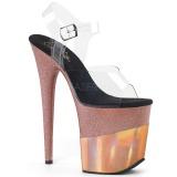 kobber 20 cm FLAMINGO-808-2HGM glitter platå sandaler dame