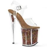 kobber 20 cm FLAMINGO-808GF glitter platå høye hæler dame