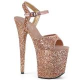 kobber 20 cm FLAMINGO-810LG glitter platå høye hæler dame