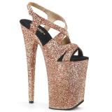 kobber 23 cm INFINITY-930LG glitter platå høye hæler dame