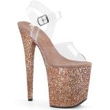 kobber glitter 20 cm FLAMINGO-808LG platå høyhælte sandaler sko