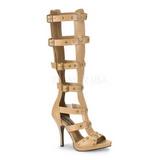 krem 11,5 cm GLADIATOR-208 knehøye gladiator sandaler til dame