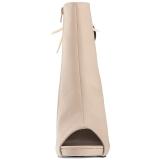 krem kunstlær 12,5 cm EVE-102 store størrelser ankelstøvletter dame